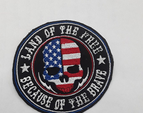 3 inch american flag with skull ,land of the free becauce of the brave patch