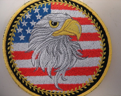 USA flag patch with eagle head