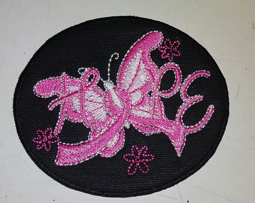 Hope breast cancer ribbon butterfly