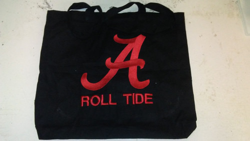 Black Tote Bag with Large Alabama A and Roll Tide emboridery