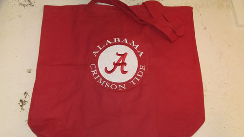 Red Alabama Tote bag with Embroideried A and Alabama Crimson Tide