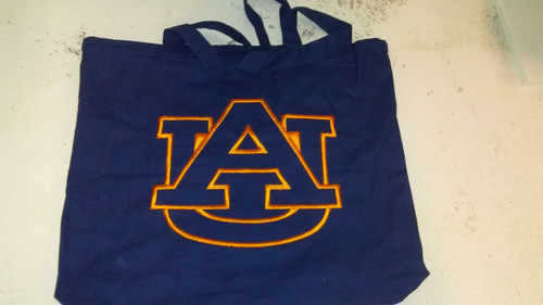 Auburn Tote Bag with A/U emborideried on Blue Bag