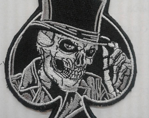 skull top hat spade patch