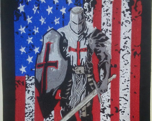 Templar Knight with US Flag Back Patch