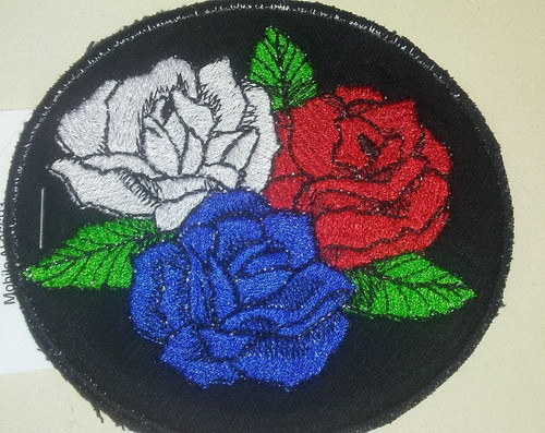 Red white and blue roses patch