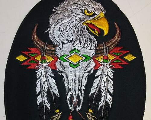 Native American eagle and steer skull with feathers back patch
