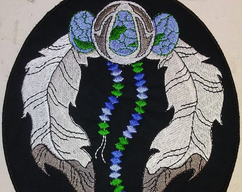 Native American turquoise and eagle feathers back patch