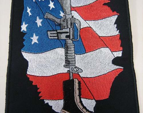 US Flag with Combat Boots