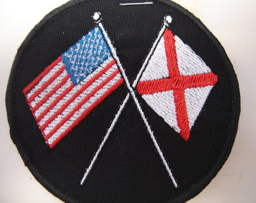 "US and Alabama flags patch  3"" circle  Black background  Black border"