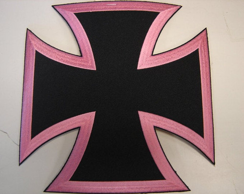 "Pink Iron Cross  Back patch  9"" x 9""  Black border"