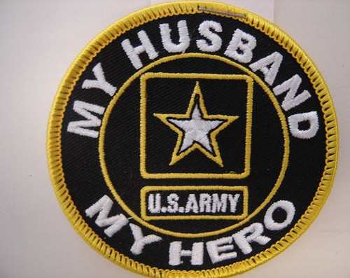 """My Husband, My Hero, U.S. Army""  3"" Circle  Gold border"