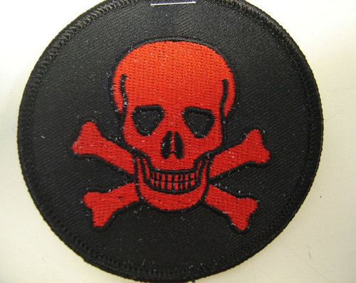 "Red Jolly Roger Skull  3"" circle  Black border"