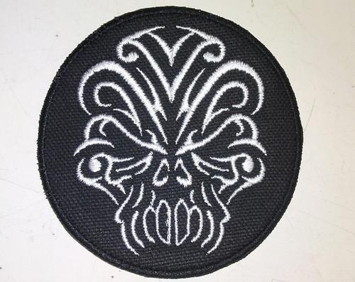 "Tribal skull patch  3.25"" circle"
