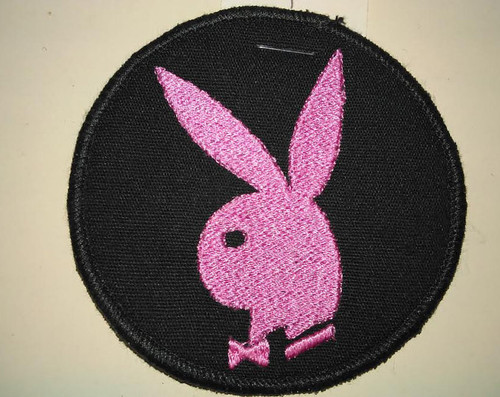 "Bunny patch  Available in White, Pink, and Red  3"" circle  Black border"