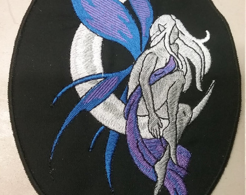 "Fairy with moon  Blue/purple  5.25"" x 7""  Black border"