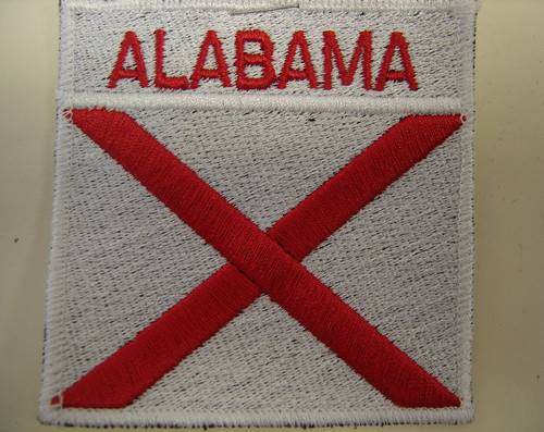 "Alabama flag patch  3"" x 3""  White background with white border"