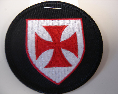 "Knights Templar shield  2.5"" circle  Black border"