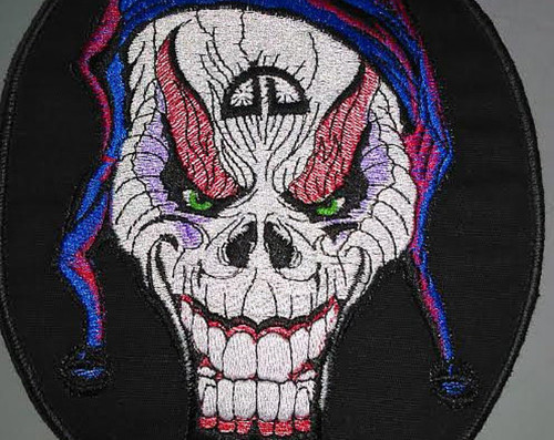 "Joker Skull patch  5.5"" x 7""  Black border"