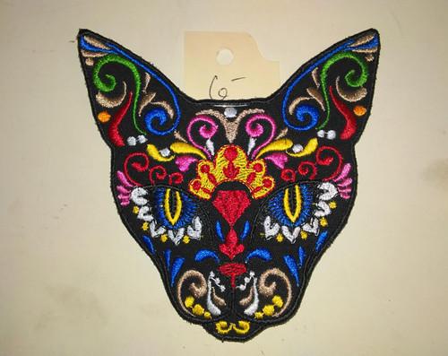 """Tribal Mexican cat sugar skull  4.25"""" x 4.25"""""""