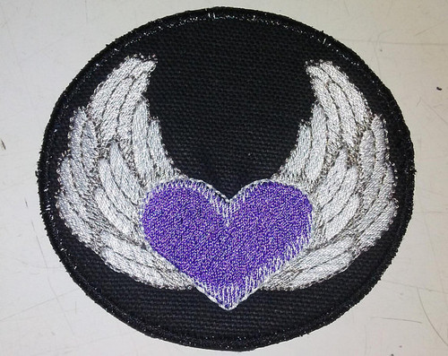 "Heart with wings patch  3"" x 3.25"""