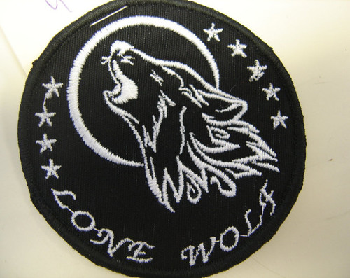 """Lone Wolf""  3"" circle  Black border"