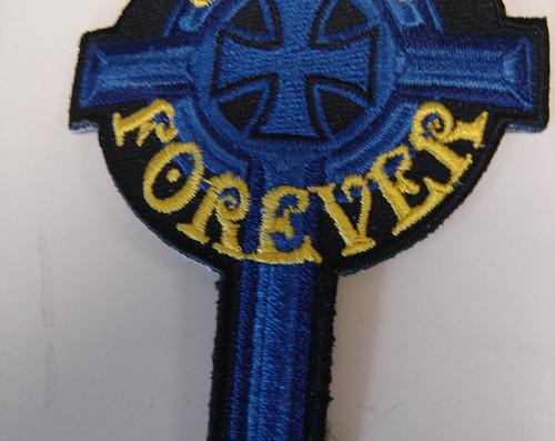 """""""Jesus Forever"""" Cross  2.5"""" x 4""""  Black border"""