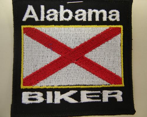 """Alabama Biker flag patch  3.5"""" x 3.5""""  Black background with black border"""