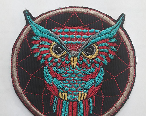 4 x 3 inch Patch  Colorful Owl with Dream Catcher