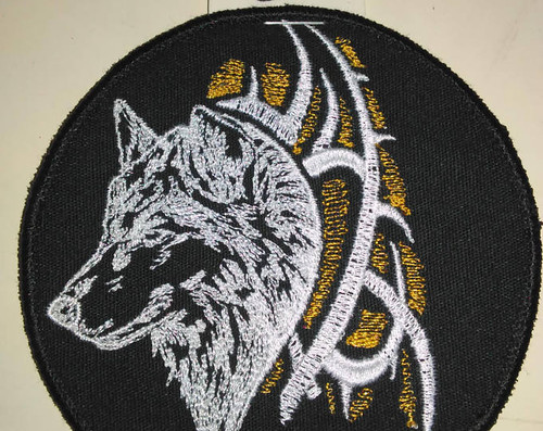 """Small tribal wolf patch  4"""" circle"""