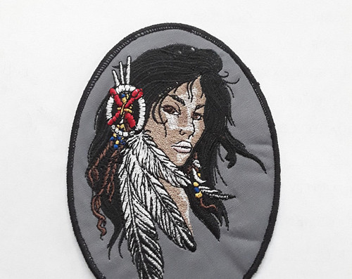 3.5 x 5 inch Indian American maiden patch
