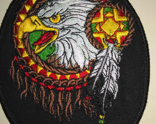 "Native American eagle head dreamcatcher patch  3.5"" x 4.25"""