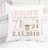 Birth Announcement Pillow - Girls Bunny - Personalized Pillowcase and Pillow Insert