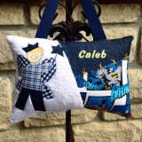 Personalized Boys Tooth Fairy Pillow Custom Made in Batman Superhero Fabrics