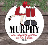 Christmas Ornament – Personalized Our First Christmas as Mr. and Mrs. Santa Claus - light