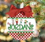 Christmas Ornament – Polka Dot Personalized Family with Custom Characters - family portrait ornament