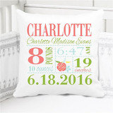 Birth Announcement Pillow - Girls Charlotte Rose in coral and lime - Personalized Pillowcase and Pillow Insert