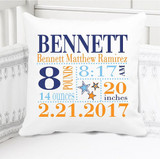 Boys Birth Announcement Pillow Personalized with Baby's Stats – Stars