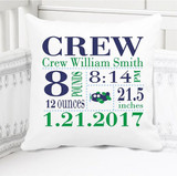 Boys Birth Announcement Pillow Personalized with Baby's Stats – Airplane