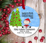 Personalized Baby's First Christmas Ornament - Baby Boy - light
