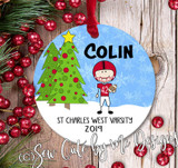 Personalized Football Christmas Ornament - light skin