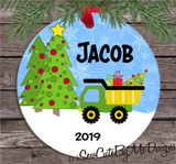 Boys Dump Truck Christmas Ornament