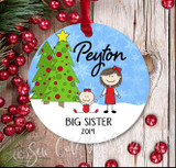 Personalized Big Sister Christmas Ornament - light