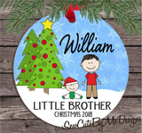 Christmas Ornament – Personalized little brother - Light skin