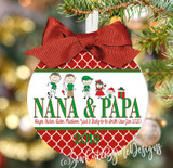 Christmas Ornament – Personalized Grandma / Grandpa with Custom Grandkids Characters - Quatrefoil - light skin