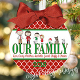 Christmas Ornament – Personalized Family with Custom Characters - Our Family - Quatrefoil