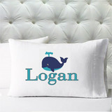 Personalized pillow case - boys whale navy aqua - case only - pillow not included
