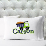 Personalized pillow case - boys dump truck - case only - pillow not included