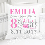 Birth Announcement Pillow - Girls Rose - Personalized Pillowcase and Pillow Insert - Pink Grey