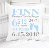 Boys Birth Announcement Pillow Personalized with Baby's Stats – Sky Blue baby footprints - Edwin
