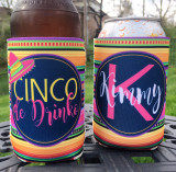 Koozies - Cinco De Drinko - blanket stripe - close up